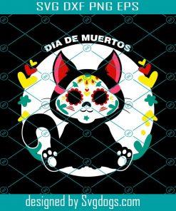 Cute Black Kitty Dia De Muertos Svg