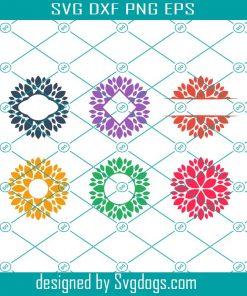 Dahlia Flower Monogram Frames Svg