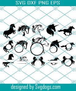 Horses Monogram Frames Svg