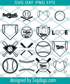 Softball Monogram Frames Svg