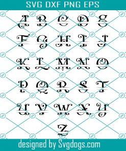 Split Monogram Alphabet Letters Svg