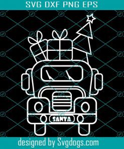 Outline White Christmas Truck Front View Svg