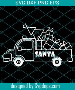 Outline White Christmas Truck Side View Svg