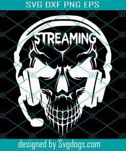 Gamer Streaming Skull Wearing Headset Svg